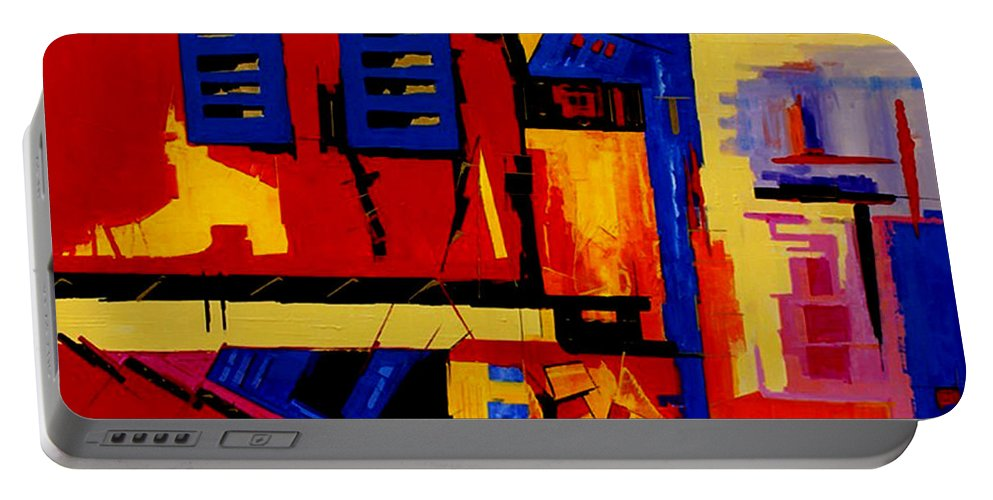 Abstract Portable Battery Charger featuring the painting Promenade - II - by Miroslav Stojkovic - Miro