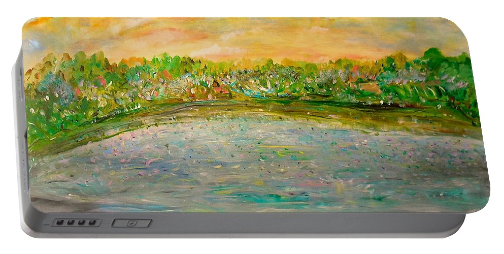 Whimsical Landscape Portable Battery Charger featuring the painting Confetti Dreams by Sara Credito