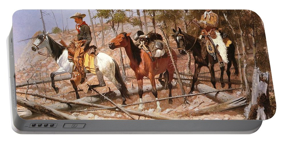 Frederic Remington Portable Battery Charger featuring the digital art Prospecting For Cattle Range by Frederic Remington