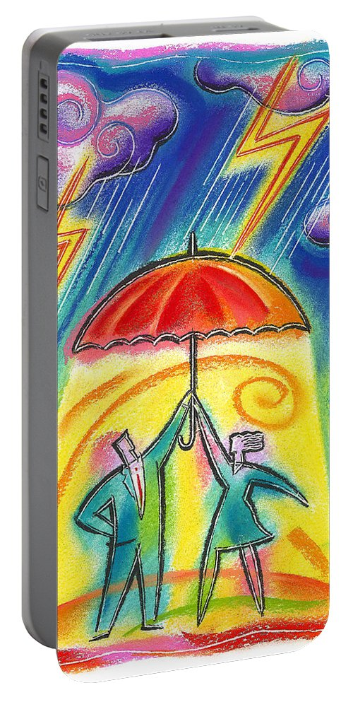 Adversity Benefit Blue Collar Worker Business Business People Businessman Caucasian Cloud Co-worker Colleague Color Color Image Colour Contrast Contrasting Day Daytime Difficulty Drawing Executive Faith Female Four Four People Full Body Full Length Group Hard-hat Hat Illustration Illustration And Painting Lightening Male Man Men And Women Outdoors Outside Parasol People Person Problem Solving Profile Protection Rain Raining Safety Security Shelter Portable Battery Charger featuring the painting Protection by Leon Zernitsky