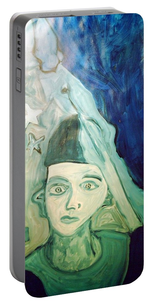 Blue Portable Battery Charger featuring the painting Protector Of The Great Land by Shea Holliman