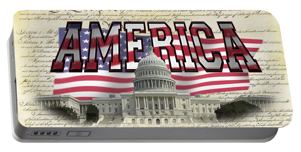 Capital+building Portable Battery Charger featuring the photograph Proud To Be American by Charles Beeler