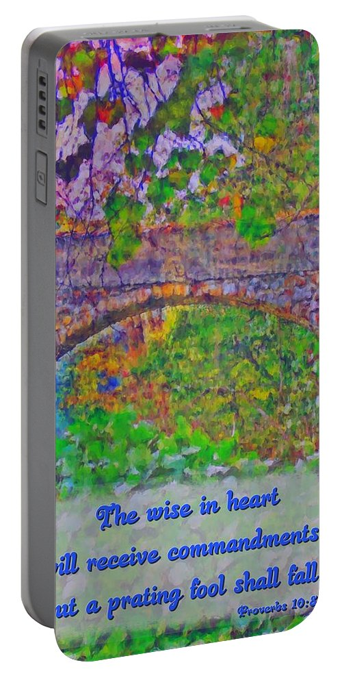 Jesus Portable Battery Charger featuring the digital art Proverbs 10 8 by Michelle Greene Wheeler