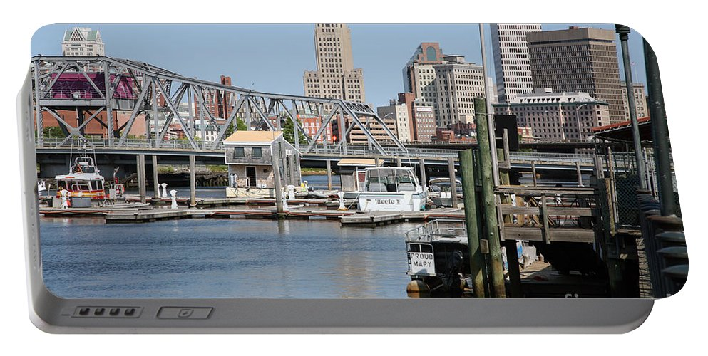 Skyline Scenes Portable Battery Charger featuring the photograph Providence River And Point St Bridge by Bill Cobb
