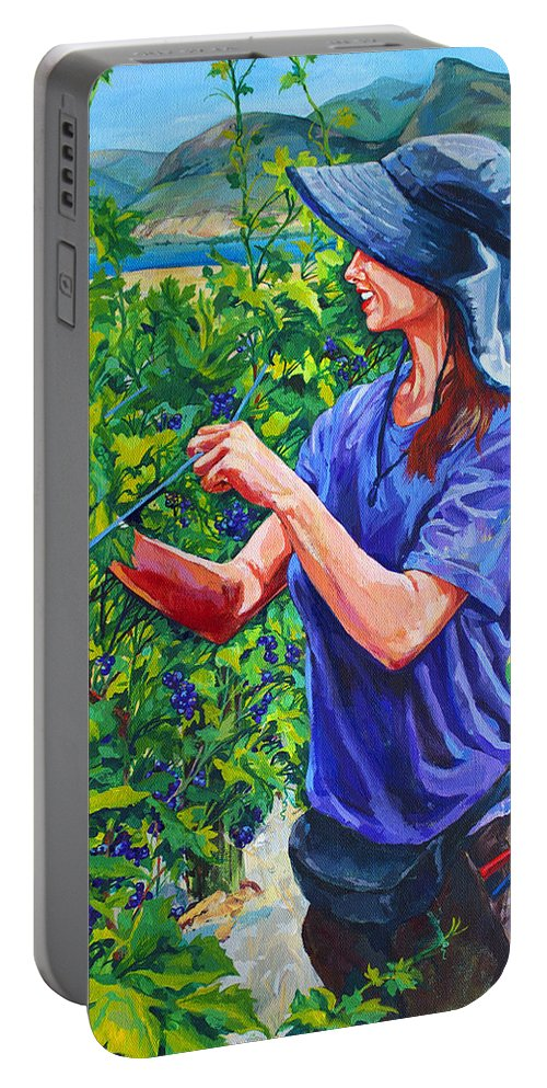 Vineyard Portable Battery Charger featuring the painting Pruning The Pinot by Derrick Higgins