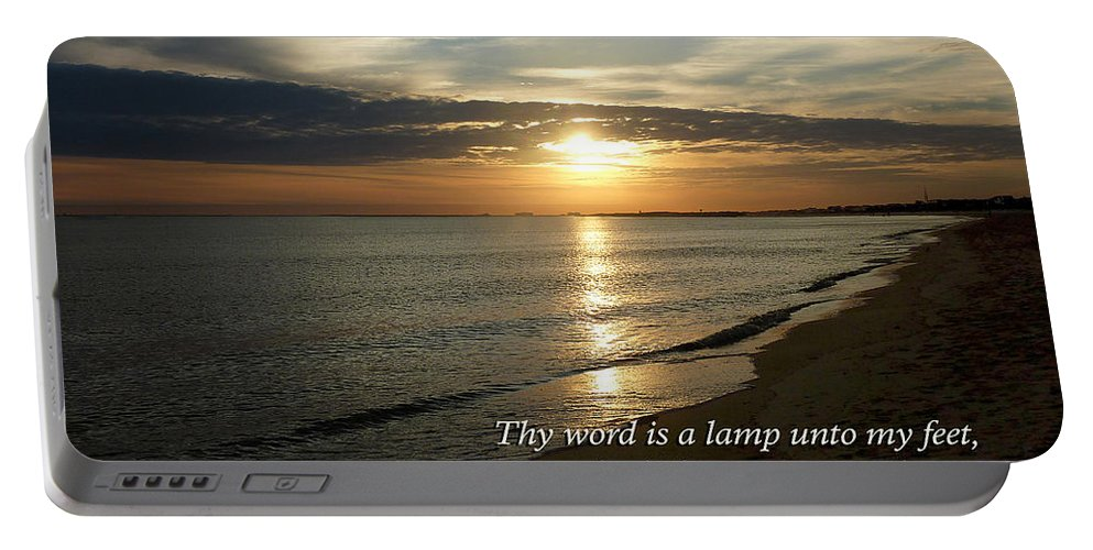 Religious Portable Battery Charger featuring the photograph Psalm 119-105 Your Word Is A Lamp by Susan Savad