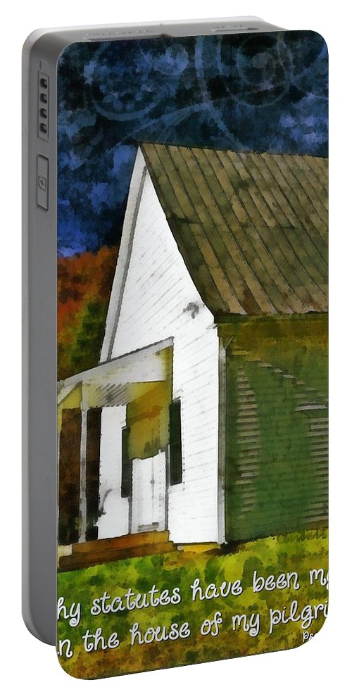 Jesus Portable Battery Charger featuring the digital art Psalm 119 54 by Michelle Greene Wheeler