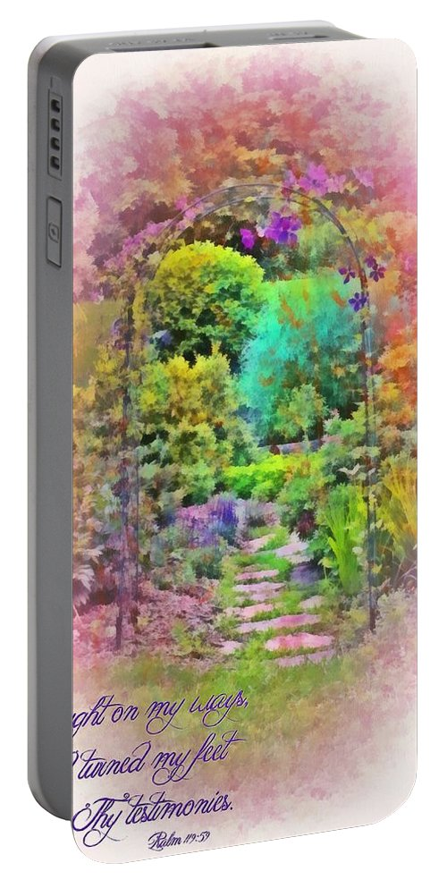 Jesus Portable Battery Charger featuring the digital art Psalm 119 59 by Michelle Greene Wheeler