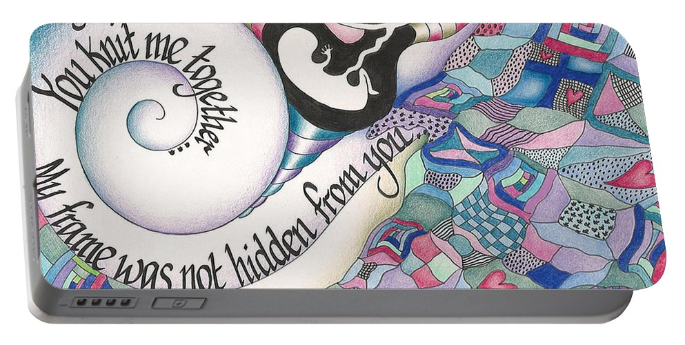 Bible Portable Battery Charger featuring the mixed media Psalm 139 by Amanda Patrick