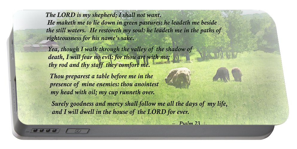 Religious Portable Battery Charger featuring the photograph Psalm 23 The Lord Is My Shepherd by Susan Savad