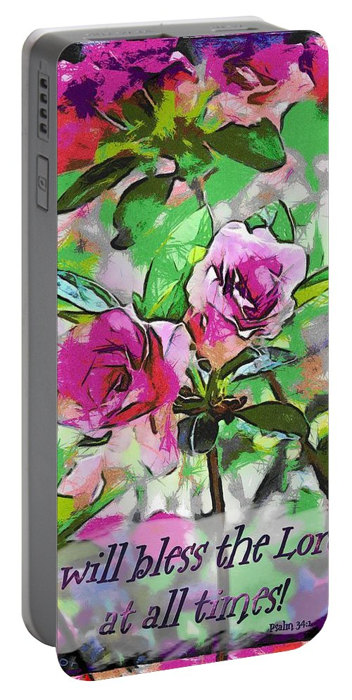 Jesus Portable Battery Charger featuring the digital art Psalm 34 1 by Michelle Greene Wheeler