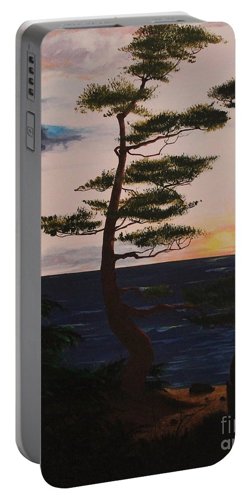 David L. Gerring Portable Battery Charger featuring the painting Psalms 136 Verse 7 And 8 Left Panel by D L Gerring