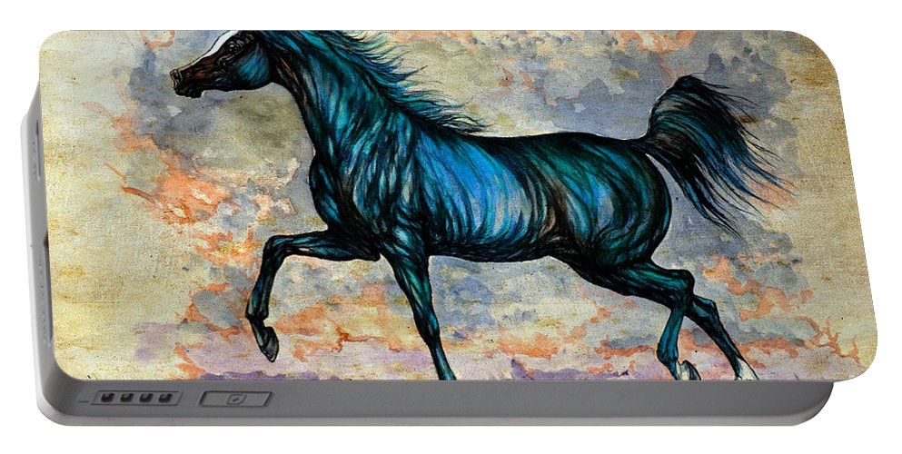 Horse Portable Battery Charger featuring the painting Psychedelic Blue by Angel Ciesniarska