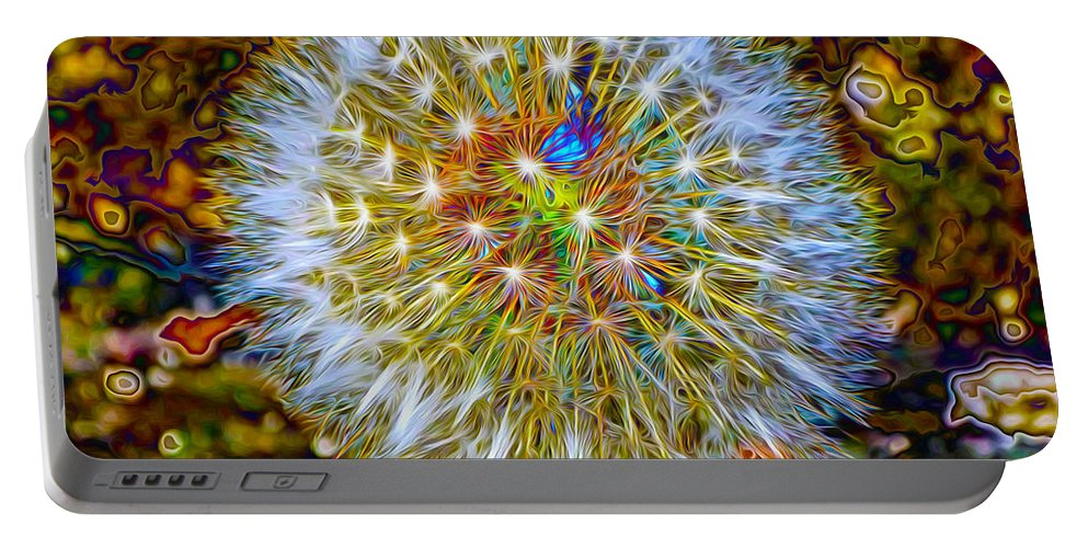 Dandelion Portable Battery Charger featuring the digital art Psychedelic Dandelion by P Donovan