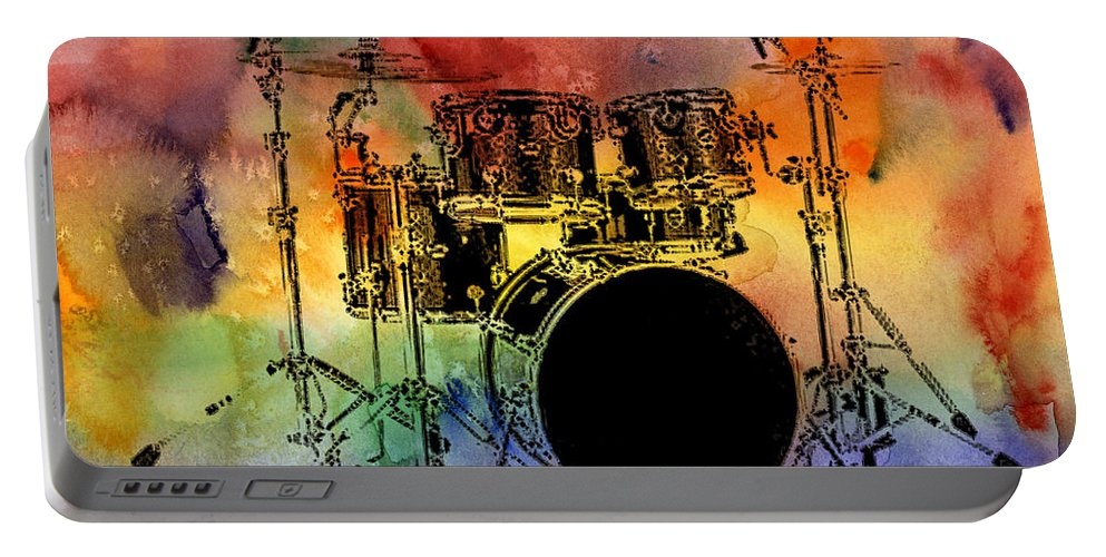Drums Portable Battery Charger featuring the photograph Psychedelic Drum Set by Athena Mckinzie