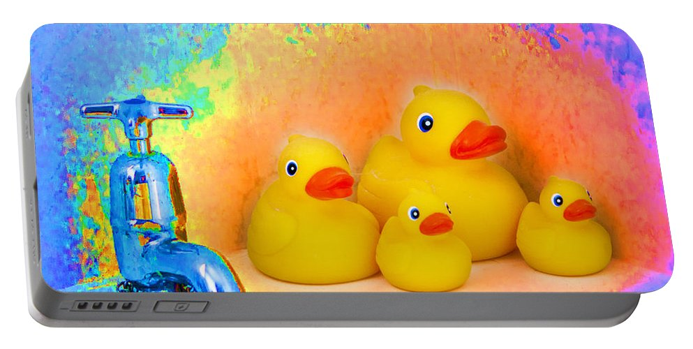 Psychedelic Portable Battery Charger featuring the photograph Psychedelic Ducks And Faucet by Peter Lloyd