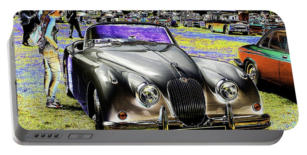 Psychedelic Portable Battery Charger featuring the photograph Psychedelic Jaguar Xk120 Classic Car 1 by Peter Lloyd