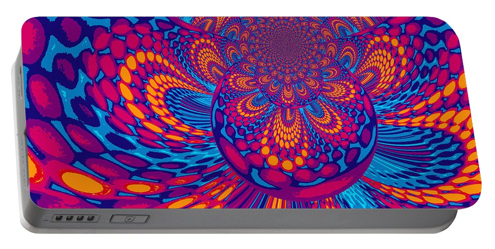 Psychedelic Portable Battery Charger featuring the digital art Psychedelic Mind Trip by Absinthe Art By Michelle LeAnn Scott