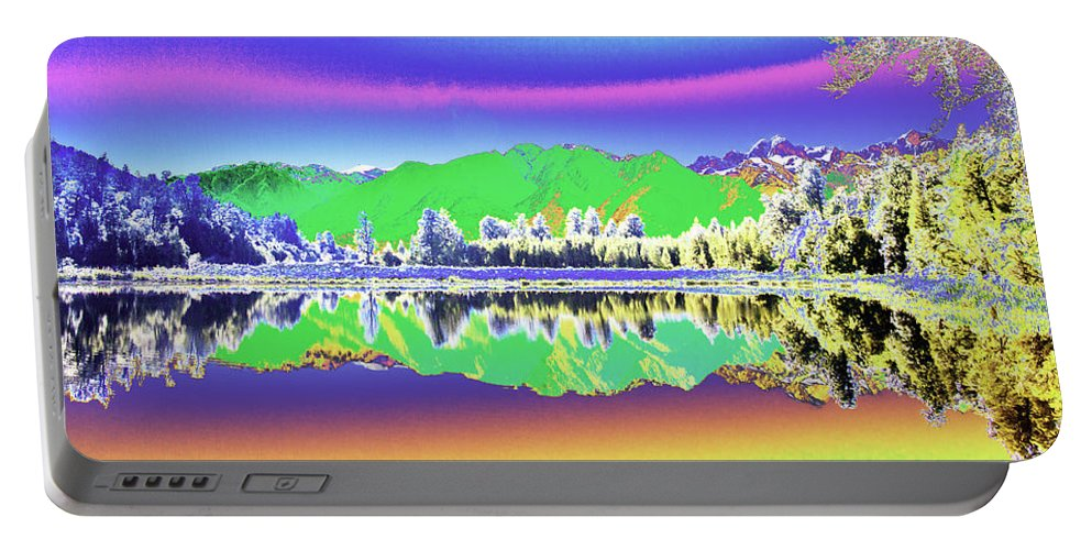 Psychedelic Portable Battery Charger featuring the photograph Psychedelic Mirror Lake New Zealand 3 by Peter Lloyd