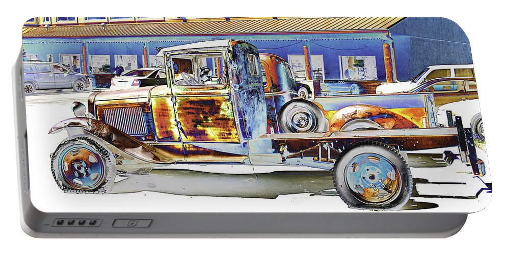 Psychedelic Portable Battery Charger featuring the photograph Psychedelic Old Pickup Truck by Peter Lloyd