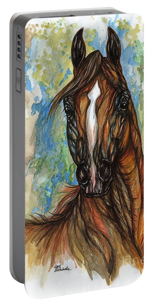 Psychodelic Portable Battery Charger featuring the painting Psychodelic Chestnut Horse Original Painting by Angel Ciesniarska