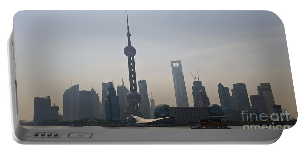 Asia Portable Battery Charger featuring the photograph Pudong Skyline, China by John Shaw