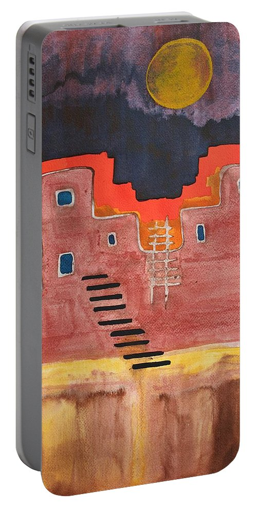Pueblo Portable Battery Charger featuring the painting Pueblito Original Painting by Sol Luckman