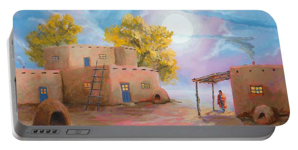 Pueblo Portable Battery Charger featuring the painting Pueblo De Las Lunas by Jerry McElroy