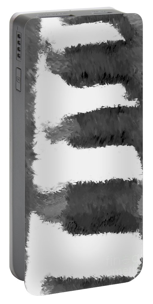 Digital Abstract Painting Portable Battery Charger featuring the digital art Pueblo Steps Bw by Tim Richards