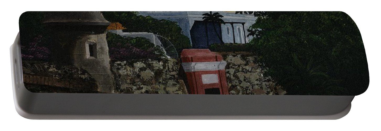 Old San Juan Portable Battery Charger featuring the painting Puerta De San Juan by Karen Ayala