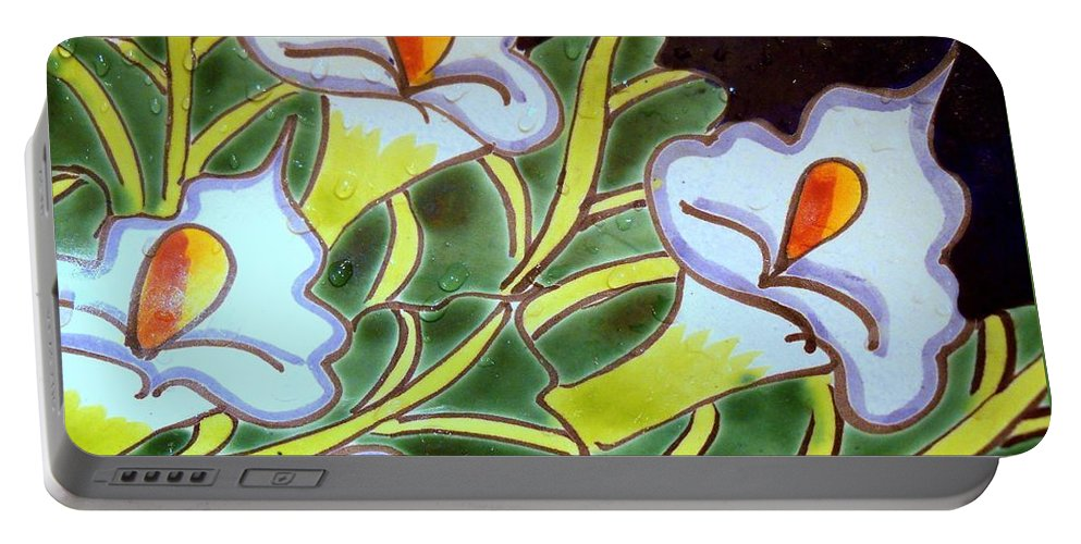Puerta Vallarta Portable Battery Charger featuring the photograph Calla Lillies Splashed by Pamela Smale Williams