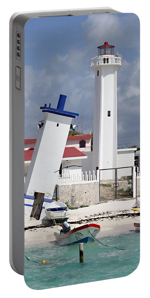 Puerto Morelos Lighthouse Portable Battery Charger featuring the photograph Puerto Morelos Lighthouse by Ellen Henneke