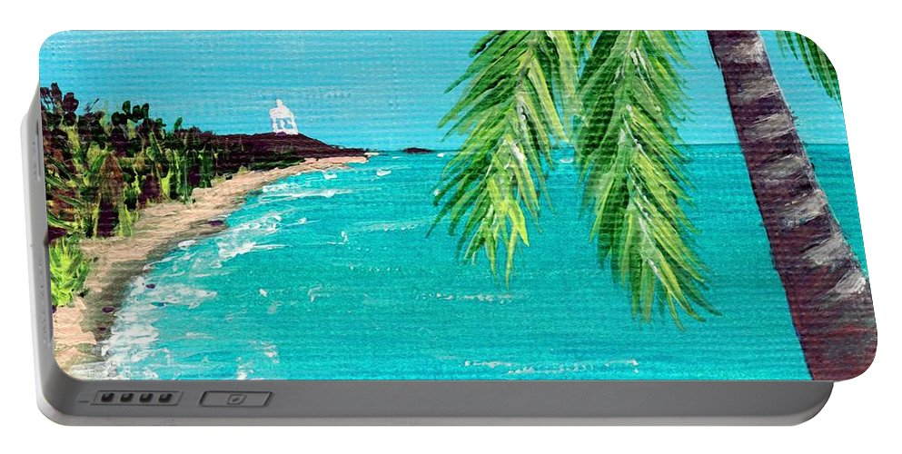 Interior Portable Battery Charger featuring the painting Puerto Plata Beach by Anastasiya Malakhova