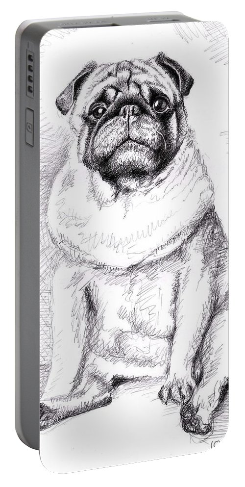 Dog Portable Battery Charger featuring the drawing Pug Anton by Nicole Zeug