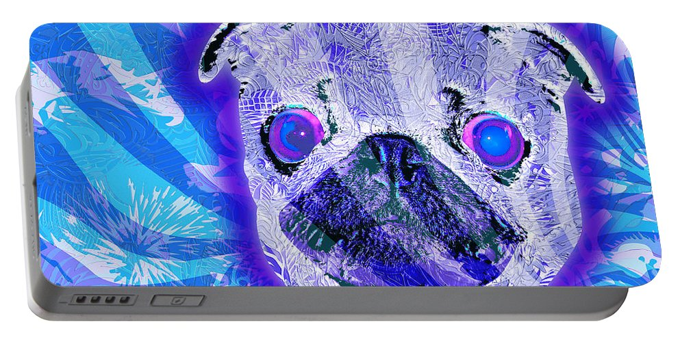Pug Portable Battery Charger featuring the painting Pug by Sean Corcoran