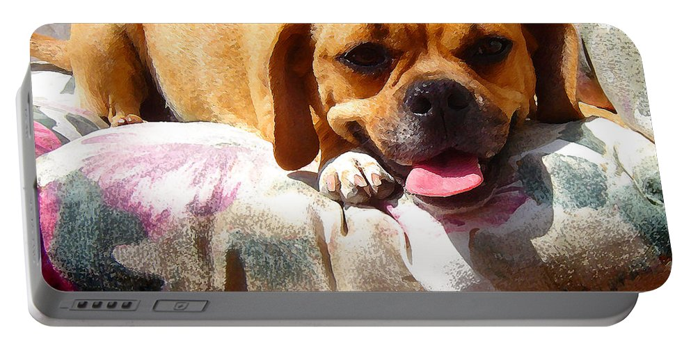 Animal Portable Battery Charger featuring the painting Puggle Lounging by Amy Vangsgard