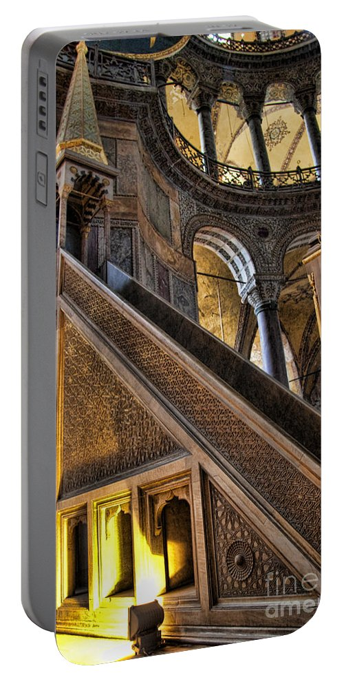 Turkey Portable Battery Charger featuring the photograph Pulpit In The Aya Sofia Museum In Istanbul by David Smith