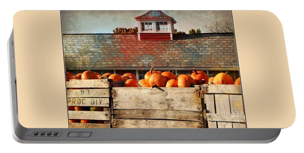 Pumpkins Portable Battery Charger featuring the photograph Pumpkin Crates Barn by Beth Ferris Sale