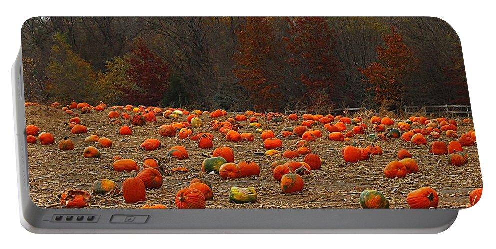 Pumpkin Field Portable Battery Charger featuring the photograph Pumpkin Season by Elizabeth Winter