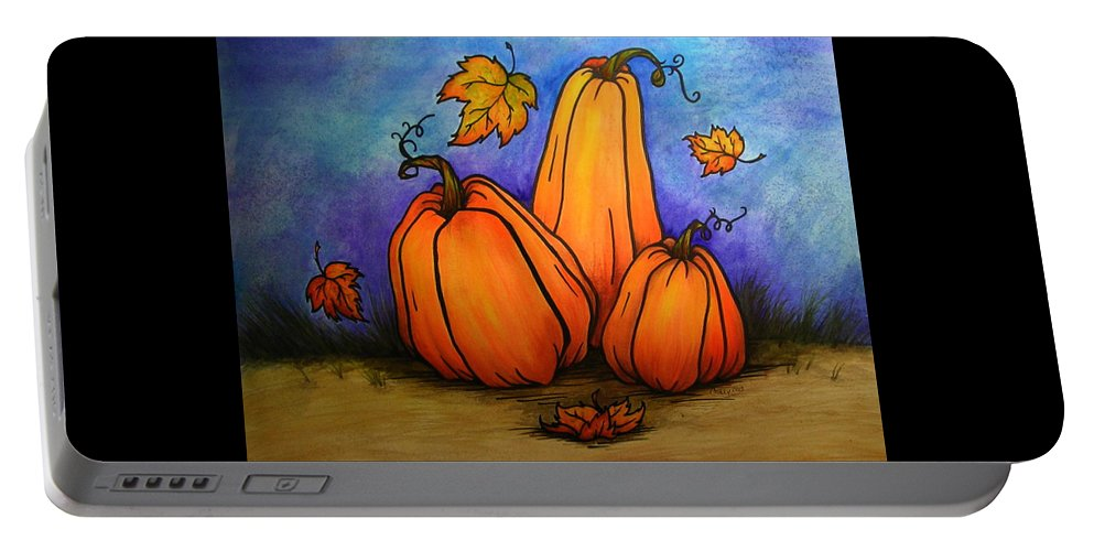 Pumpkin Portable Battery Charger featuring the painting Pumpkin Trio by Catherine Howley