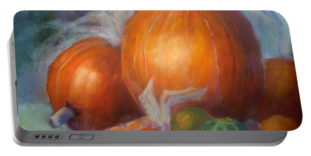 Pumpkin Portable Battery Charger featuring the painting Pumpkins And Corn by Carolyn Jarvis