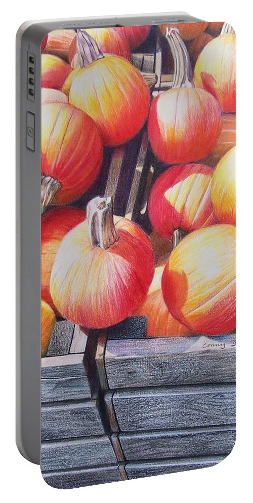 Pumpkins Portable Battery Charger featuring the painting Pumpkins by Constance Drescher