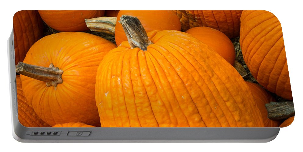 Halloween Portable Battery Charger featuring the photograph Pumpkins by Inge Johnsson