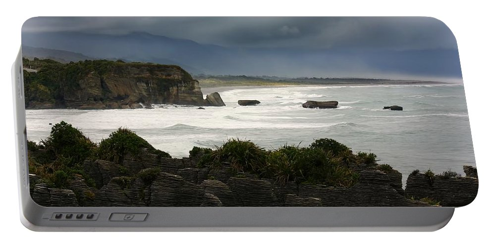 Pancake Rocks Portable Battery Charger featuring the photograph Punakaiki Rocks by Amanda Stadther