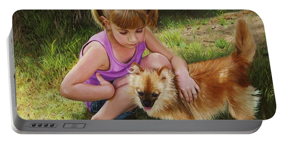 Puppy Portable Battery Charger featuring the painting Puppy Love by Glenn Beasley