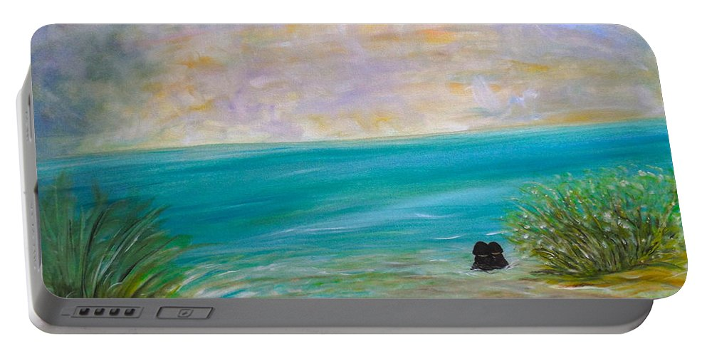 Whimsical Water-scape Portable Battery Charger featuring the painting Puppy Love by Sara Credito