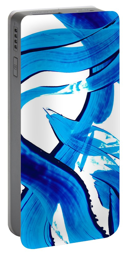 Abstract Art Portable Battery Charger featuring the painting Pure Water 302 - Blue Abstract Art By Sharon Cummings by Sharon Cummings