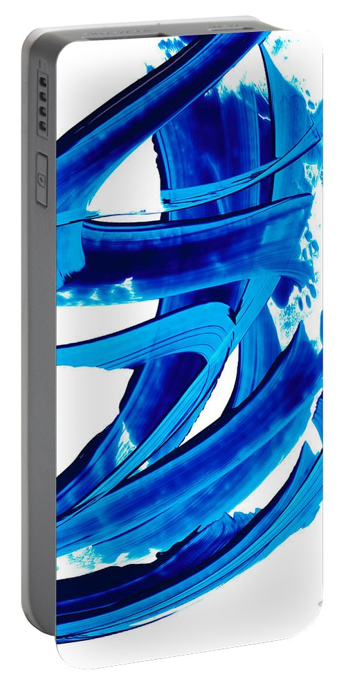 Sharon Cummings Portable Battery Charger featuring the painting Pure Water 304 - Blue Abstract Art By Sharon Cummings by Sharon Cummings