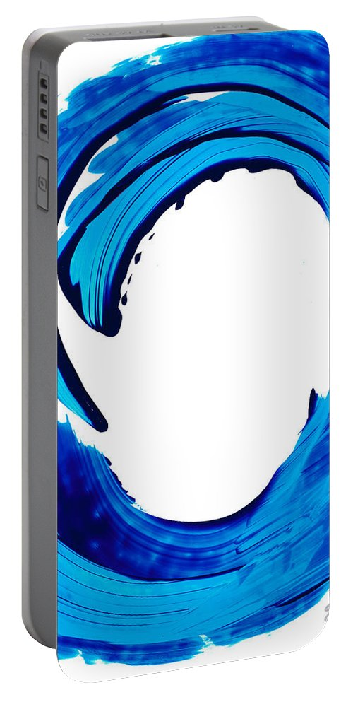Sharon Cummings Portable Battery Charger featuring the painting Pure Water 312 - Blue Abstract Art By Sharon Cummings by Sharon Cummings