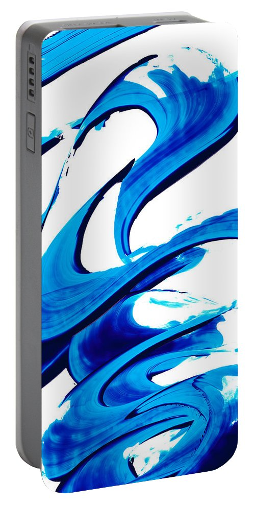 Abstract Portable Battery Charger featuring the painting Pure Water 314 - Blue Abstract Art By Sharon Cummings by Sharon Cummings